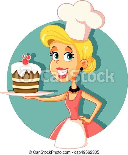 assando, ilustração, cozinheiro, vetorial, massa, femininas, bolo - csp49562305