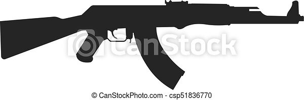 assault rifle icon isolated on white kalashnikov assault rifle ak rh canstockphoto com ak 47 vector image ak47 logo vector