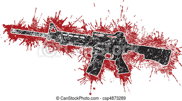 Assault Rifle with Blood Stains - csp4873289