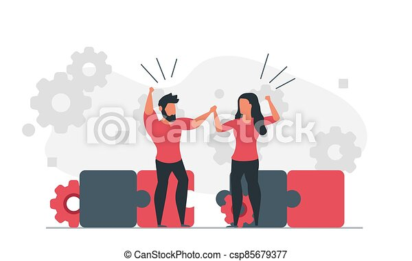 Assemble the puzzle together as a team. People are trying to solve a problem. Man and woman working on solution concept vector illustration - csp85679377