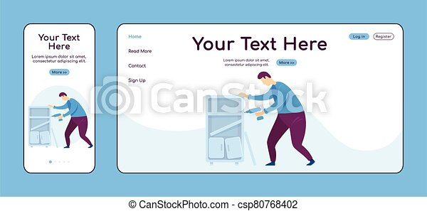 Assembling furniture adaptive landing page flat color vector template. Handyperson with drill mobile and PC homepage layout. Repairman one page website UI. Home repairs webpage cross platform design - csp80768402