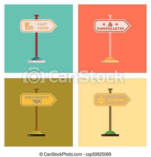 assembly flat icons University kindergarten school fast food sign - csp50625069