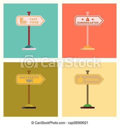 assembly flat icons University kindergarten school fast food sign - csp58569021