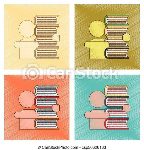 assembly flat shading style icon schoolboy books - csp50626183