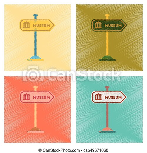 assembly flat shading style icons Museum sign - csp49671068
