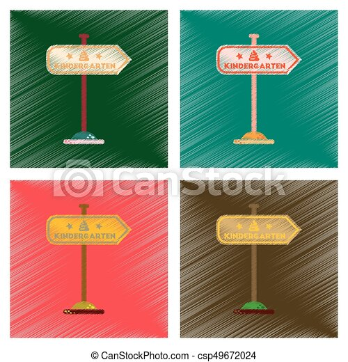 assembly flat shading style icons sign kindergarten - csp49672024