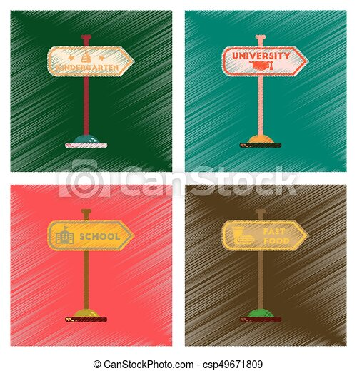 assembly flat shading style icons University kindergarten school fast food sign - csp49671809