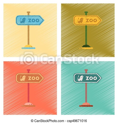 assembly flat shading style icons Zoo sign - csp49671016