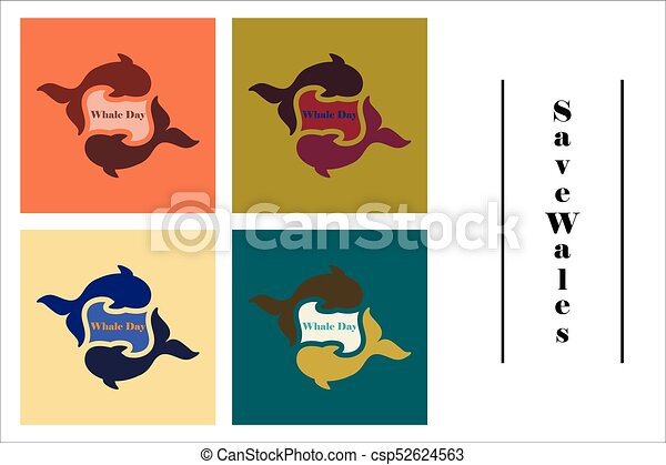 assembly of flat icons on theme Save whales . Whale family - csp52624563
