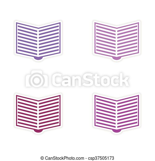 assembly realistic sticker design on paper open book - csp37505173