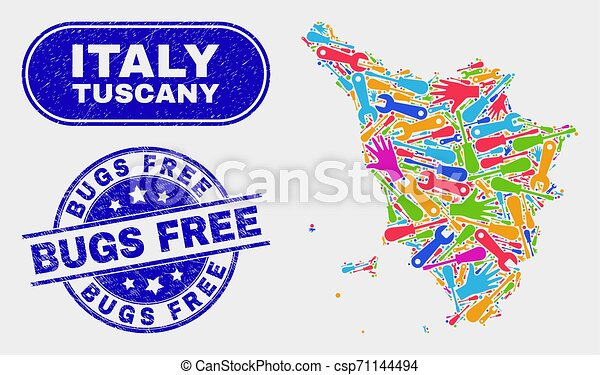 Assembly Tuscany Region Map and Distress Bugs Free Stamps - csp71144494