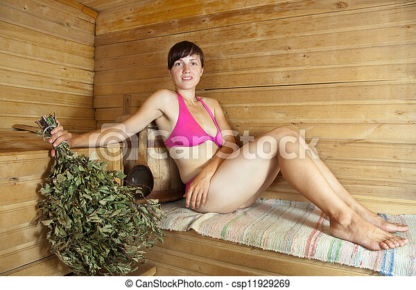 assento mulher, sauna - csp11929269