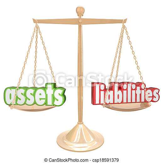Assets and Liabilities words on a gold scale to illustrate comparing and balancing your investments and monetary value with your costs and debts to determine net worth - csp18591379