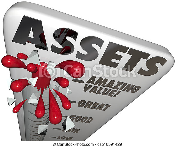 Assets Thermometer Value Level Words Measure Wealth Increasing - csp18591429