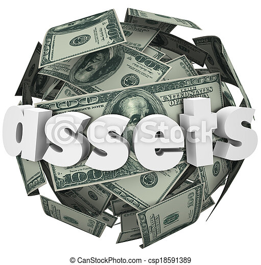 Assets Word Money Sphere Ball Value Net Worth Wealth - csp18591389