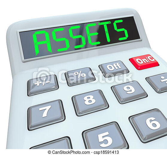 Assets word on a calculator to illustrate adding and figuring your total money investments in things like stocks, bonds, equities, annuities, mutual funds and other valuable resources - csp18591413