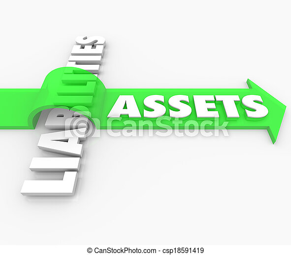 Assets word on arrow jumping over Liabilities word to illustrate rising and growing wealth in stocks, bonds, money market and other investments in relation to accounting credits and costs - csp18591419