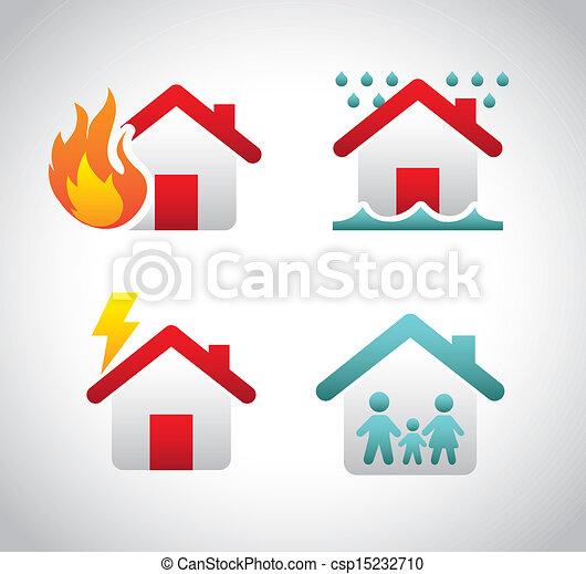 assicurazione, icone - csp15232710
