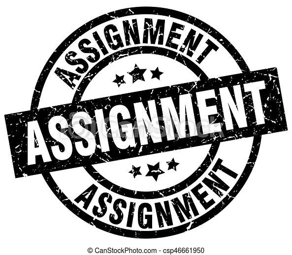 assignment round grunge black stamp - csp46661950