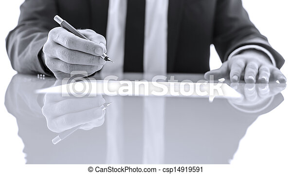 assinando, leitura, legal, papeis - csp14919591