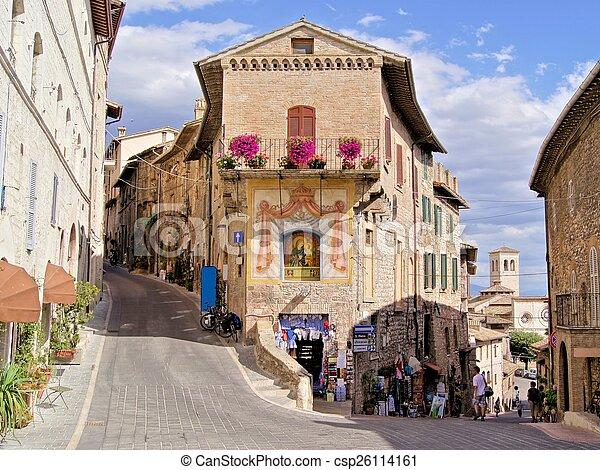 assisi, イタリア, 通り, 絵のよう - csp26114161