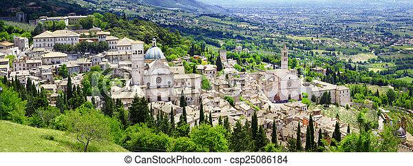 assisi, パノラマ, イタリア, umbria - csp25086184