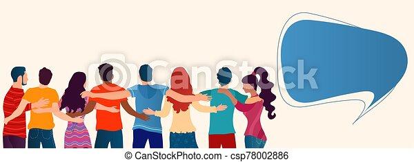 assistance., amistad, cultura, gente, caridad, solidaridad, cuidado, cooperación, community., atrás, otro., entre, personas., diverso, se abrazar, cada, ayuda, vistos, grupo, concepto - csp78002886