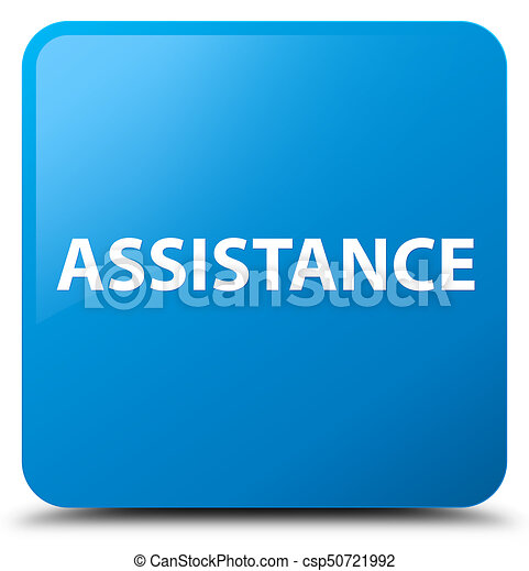 Assistance cyan blue square button - csp50721992