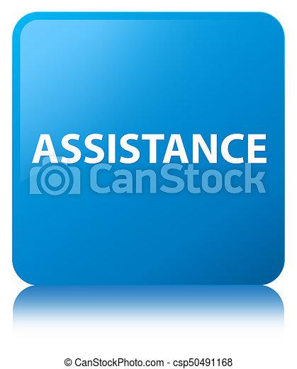 Assistance cyan blue square button - csp50491168