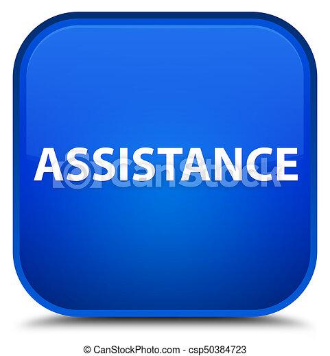 Assistance special blue square button - csp50384723