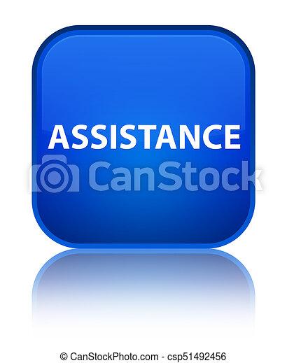 Assistance special blue square button - csp51492456