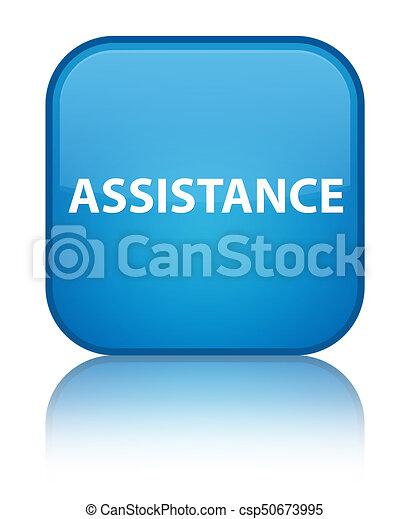 Assistance special cyan blue square button - csp50673995