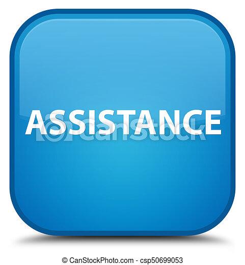 Assistance special cyan blue square button - csp50699053