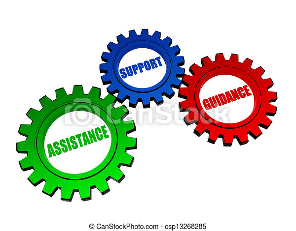 assistance, support, guidance in color gearwheels - csp13268285