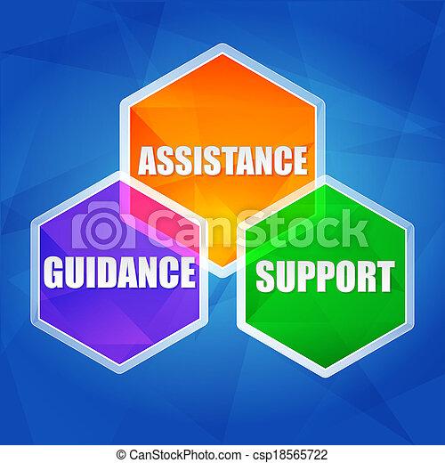 assistance, support, guidance in hexagons, flat design - csp18565722