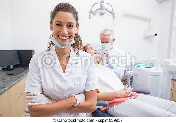 assistent, le, dental, kamera - csp21839957