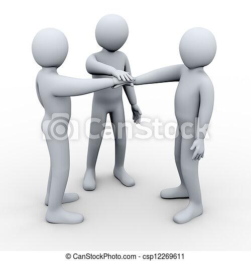 association, amis, trois, 3d - csp12269611