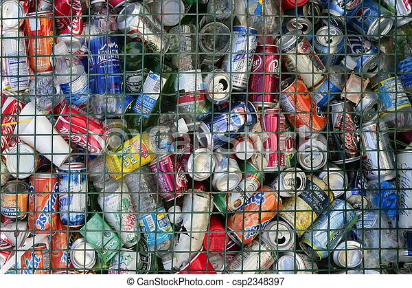 assorted beverages cans on the trash - csp2348397