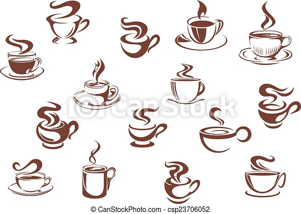 Assorted brown cups of hot coffee - csp23706052