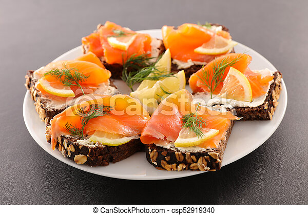 assorted canape with cheese and salmon - csp52919340