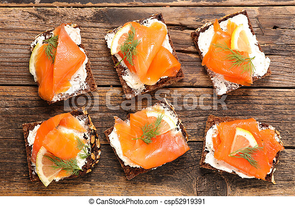 assorted canape with cheese and salmon - csp52919391