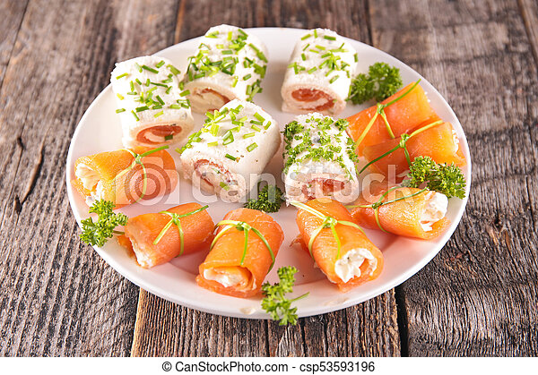 assorted canape with salmon - csp53593196