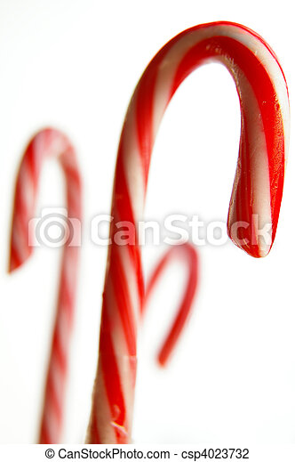 Assorted candy canes on white background - csp4023732