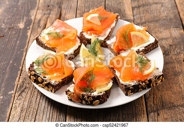 assorted christmas canape with salmon - csp52421967