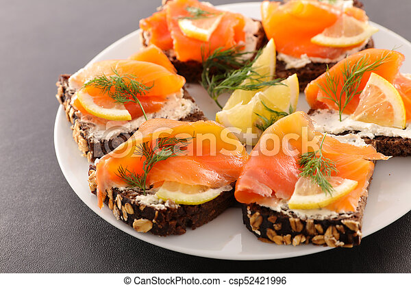 assorted christmas canape with salmon - csp52421996
