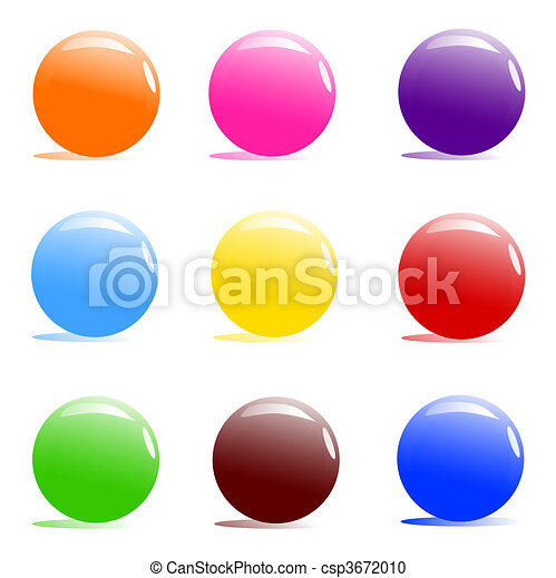 assorted color balls on white - csp3672010
