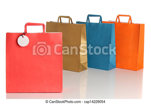 Assorted colored shopping bags over - csp14229054