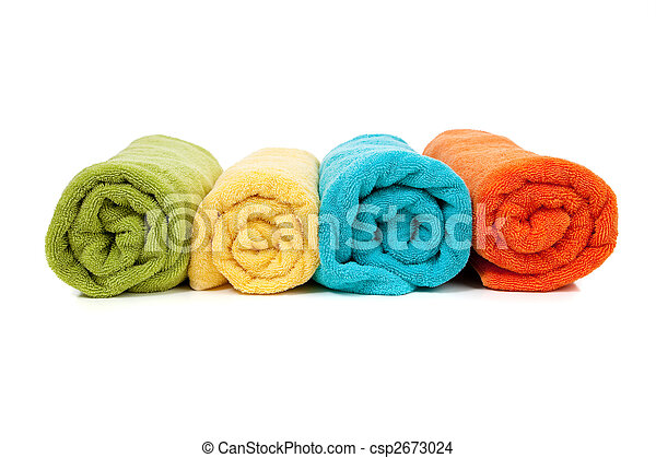 Assorted colored towels on white - csp2673024