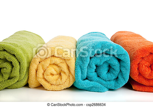 Assorted colored towels on white - csp2686634