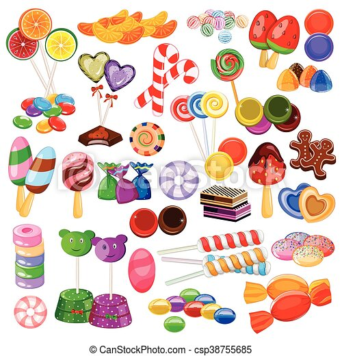 Assorted colorful Candy Collection - csp38755685